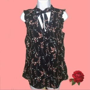 Trendy Js Floral blouse Women sleeveless Small